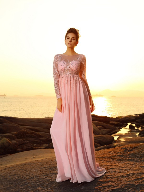 Savor the Occasion Princess Style Bateau Beading Long Chiffon Dresses
