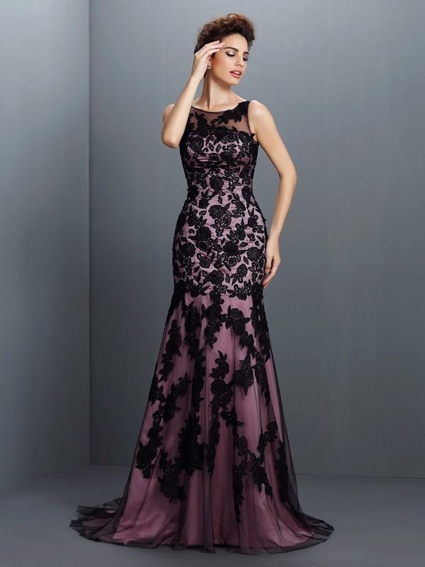 Treasured Reveries Mermaid Style Bateau Applique Long Elastic Woven Satin Dresses