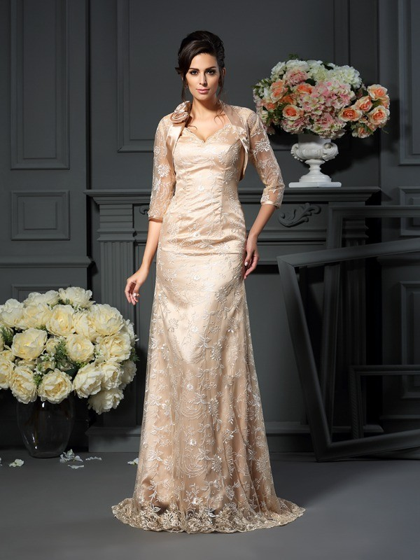 Limitless Looks Princess Style V-neck Lace Long Elastic Woven Satin Mother of the Bride Dresses
