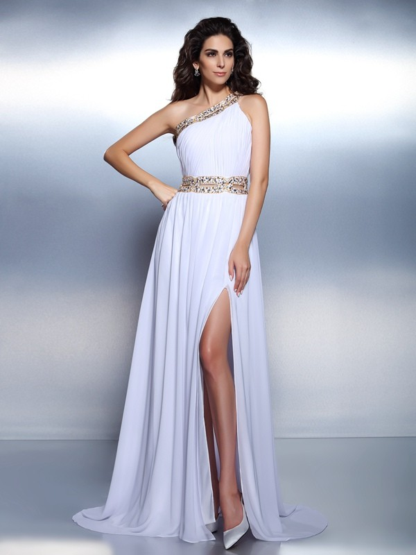 Automatic Classic Princess Style One-Shoulder Beading Long Chiffon Dresses