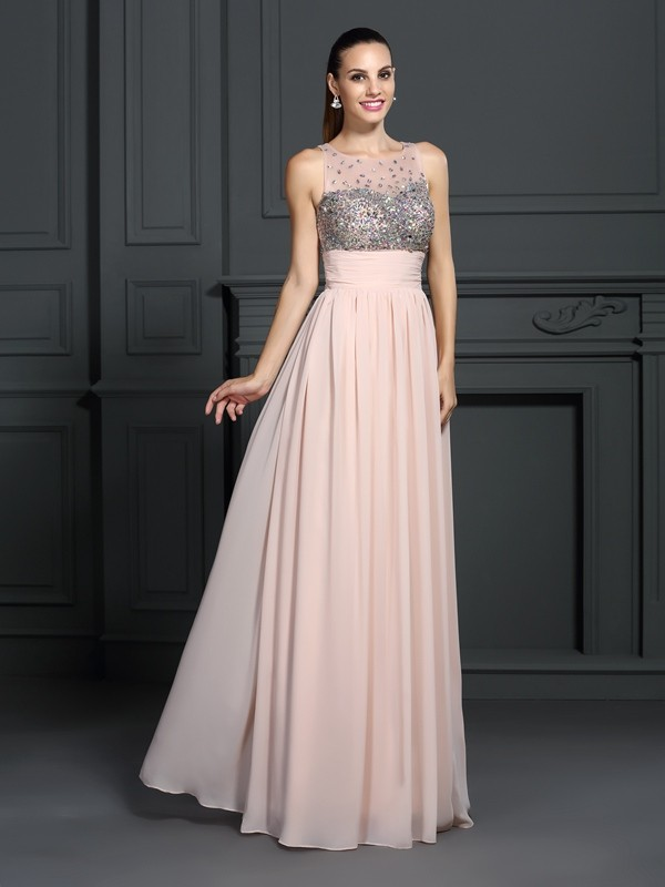 Cordially Delighted Princess Style Bateau Beading Long Chiffon Dresses