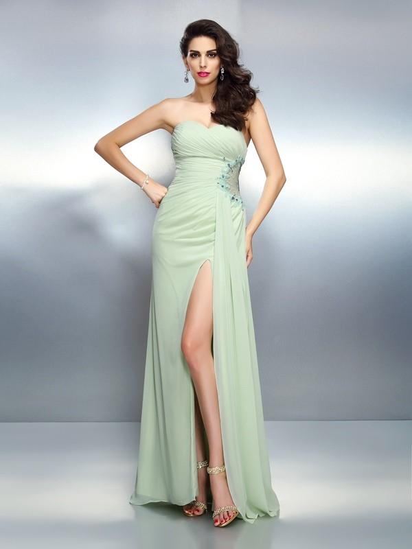 Festive Self Princess Style Sweetheart Pleats Long Chiffon Dresses