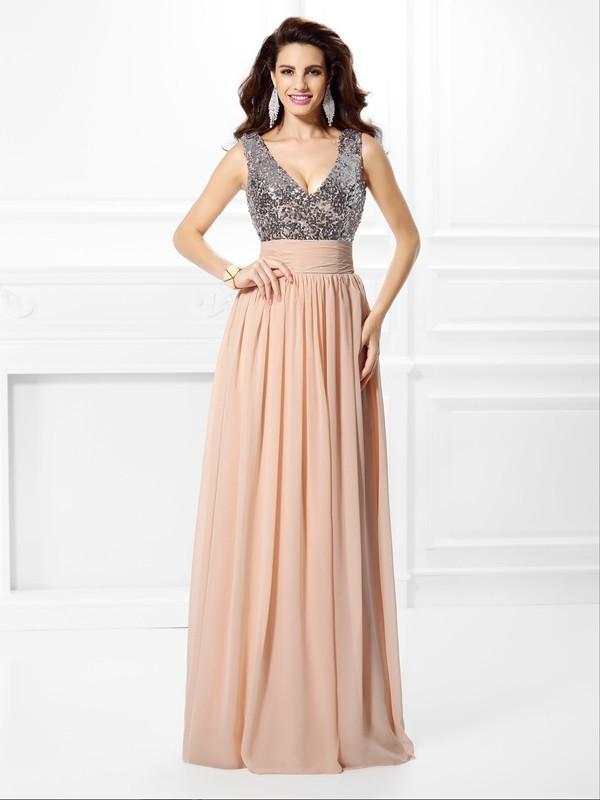 Pleased to be Me Princess Style V-neck Paillette Long Chiffon Dresses
