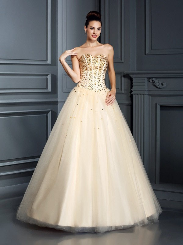 Open to Adoration Ball Gown Sweetheart Beading Long Satin Quinceanera Dresses