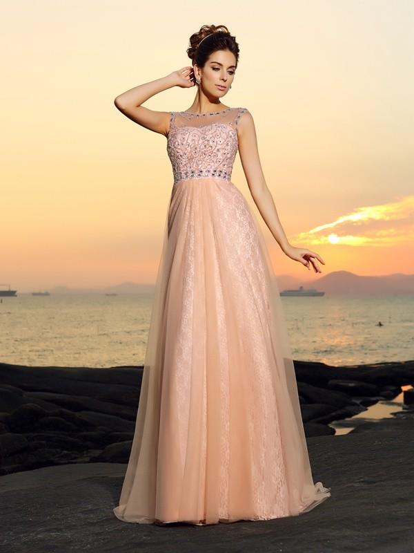 Vibrant Stylist Princess Style Bateau Lace Long Chiffon Dresses