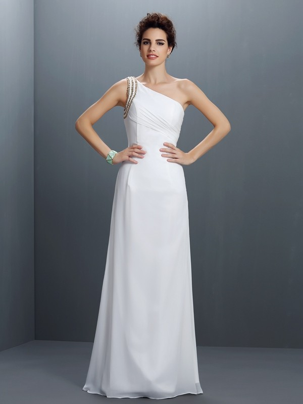 Yours Truly Sheath Style One-Shoulder Beading Long Chiffon Dresses