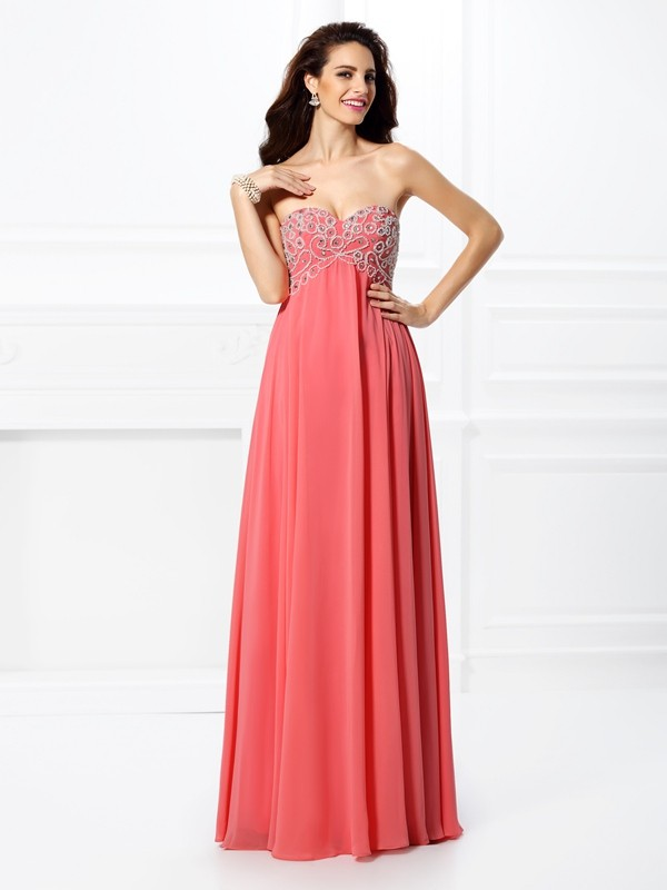 Beautiful You Princess Style Sweetheart Beading Long Chiffon Dresses