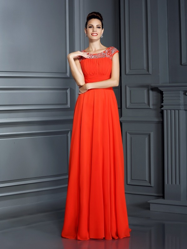 Glitz the Spot Princess Style Bateau Beading Long Chiffon Dresses