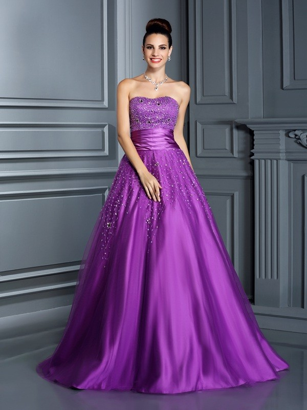 Modern Mood Ball Gown Sweetheart Beading Long Satin Quinceanera Dresses