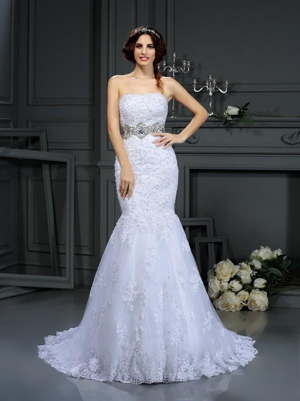 Eye-Catching Charm Mermaid Style Strapless Beading Long Lace Wedding Dresses