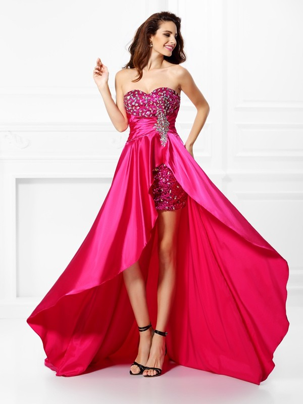 Sweet Sensation Princess Style Sweetheart Beading High Low Elastic Woven Satin Dresses