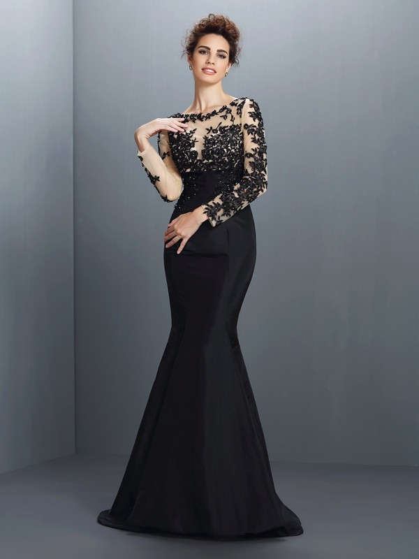 Cordially Delighted Mermaid Style Bateau Applique Long Taffeta Mother of the Bride Dresses