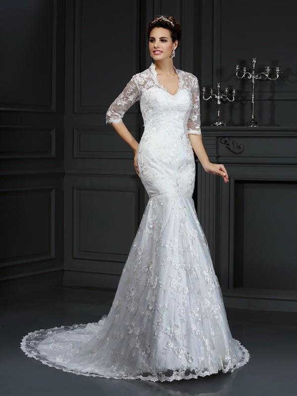 Styled to Smile Mermaid Style V-neck Lace Long Lace Wedding Dresses