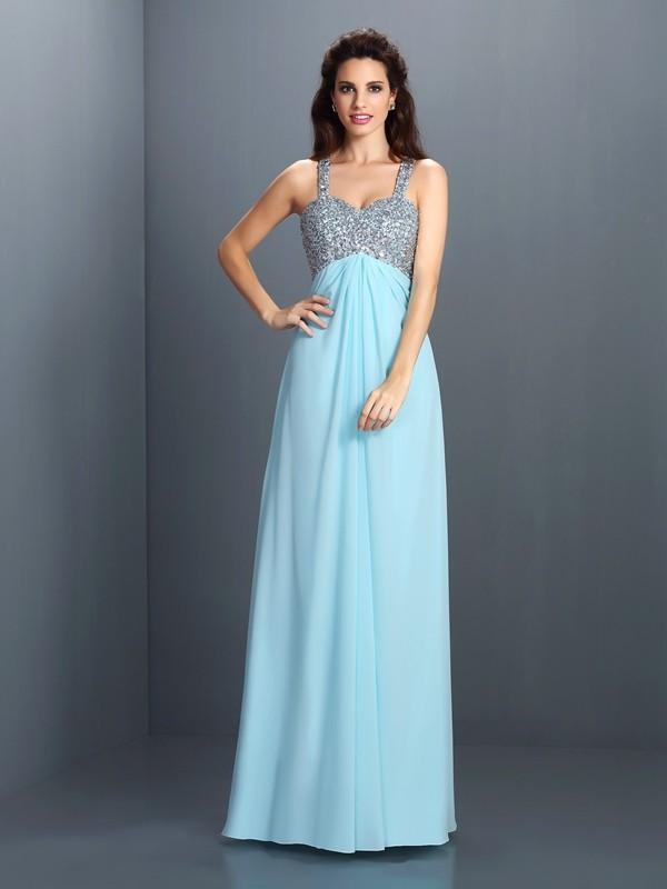 Pretty Looks Princess Style Straps Beading Long Chiffon Dresses