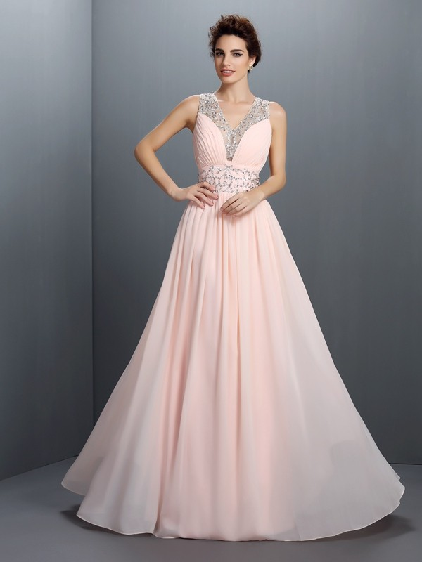 Confident Option Princess Style V-neck Beading Long Chiffon Dresses