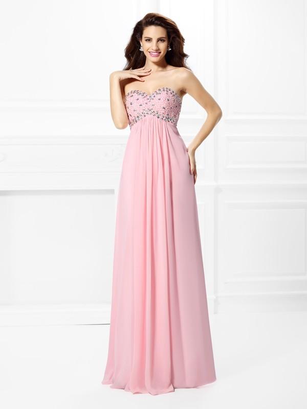 Fabulous Fit Princess Style Sweetheart Beading Long Chiffon Dresses