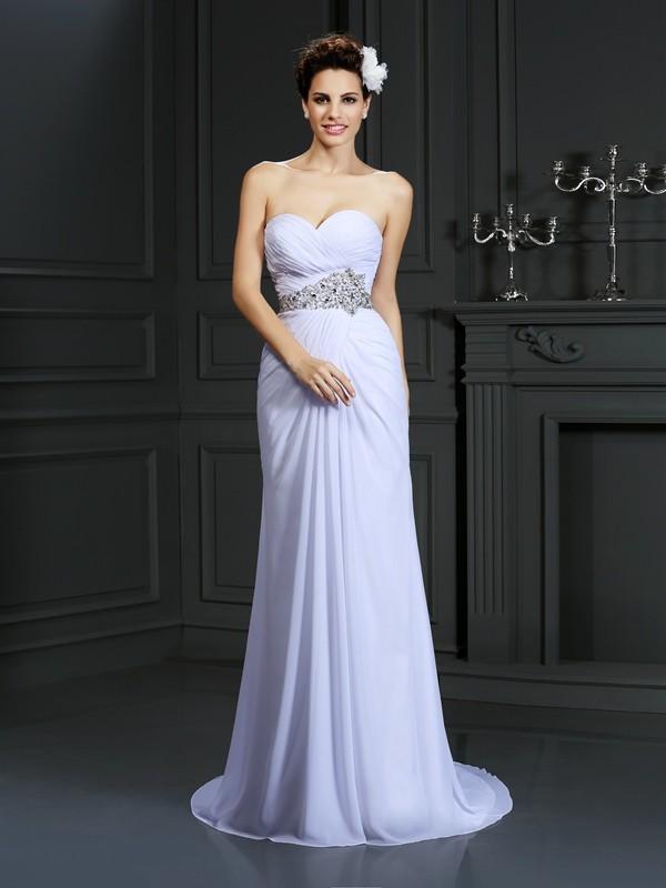 Too Much Fun Sheath Style Sweetheart Beading Long Chiffon Wedding Dresses