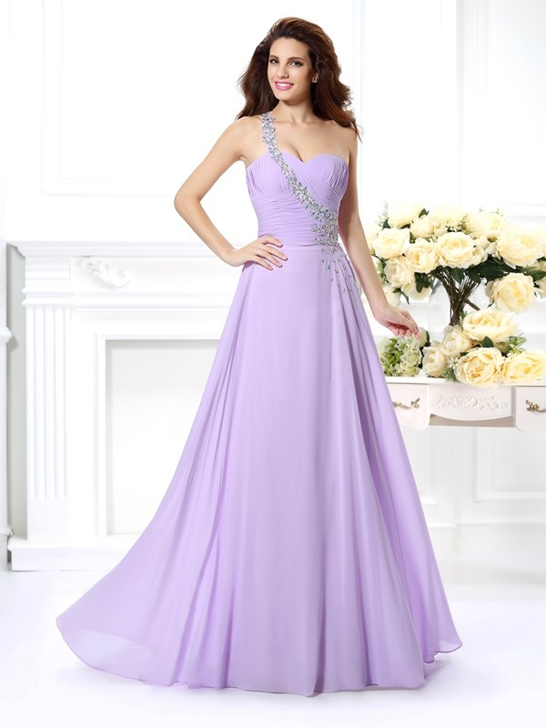 Dashing Darling Princess Style One-Shoulder Beading Long Chiffon Dresses