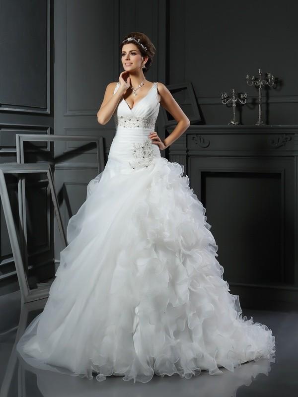 Intuitive Impact Ball Gown V-neck Ruffles Long Organza Wedding Dresses