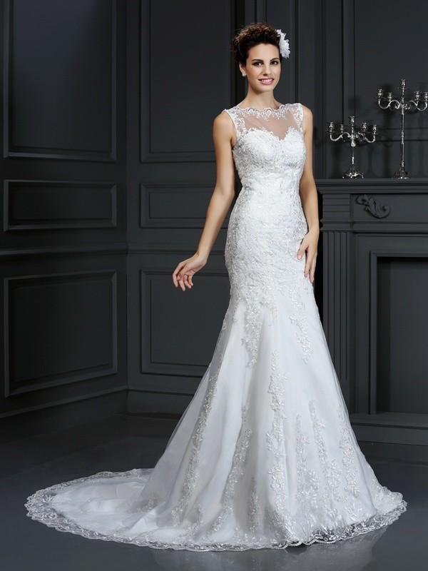 Limitless Looks Sheath Style Bateau Lace Long Satin Wedding Dresses