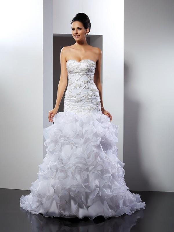 Desired Spotlight Mermaid Style Sweetheart Beading Long Organza Wedding Dresses
