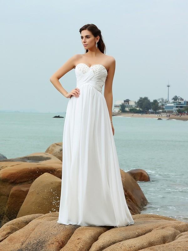 Creative Courage Princess Style Sweetheart Beading Long Chiffon Beach Wedding Dresses