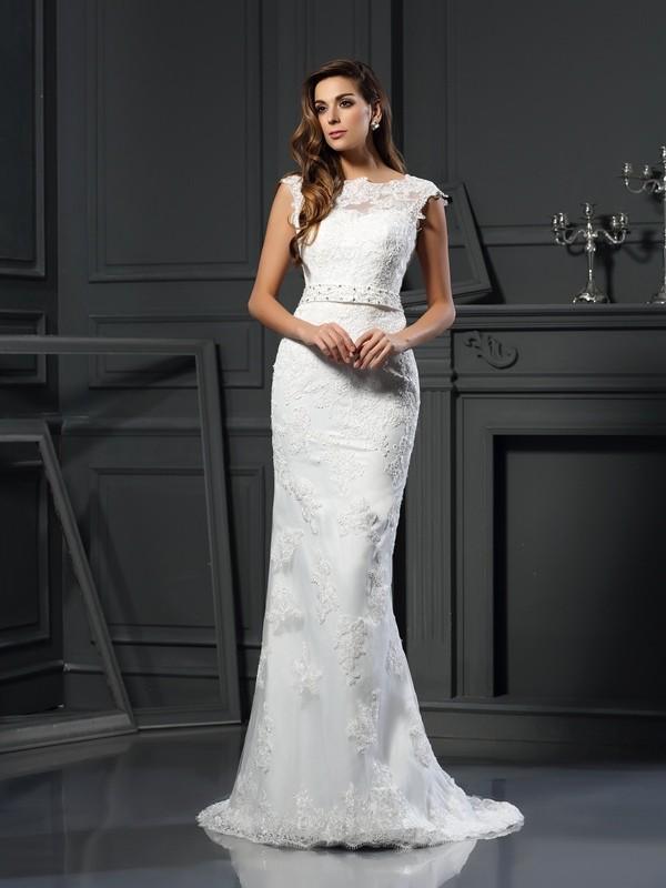 Voiced Vivacity Princess Style Bateau Lace Long Satin Wedding Dresses