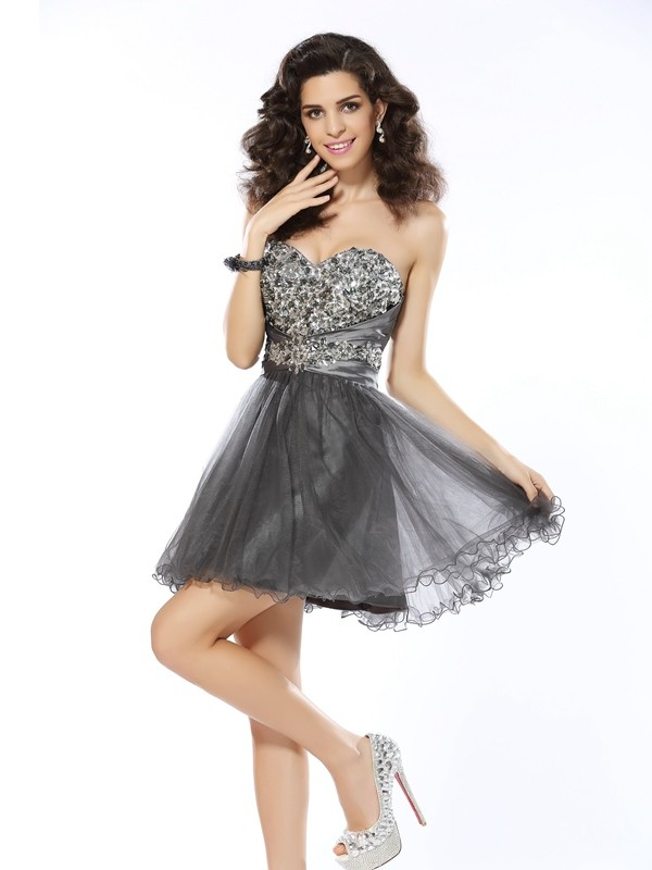 First Impressions Princess Style Sweetheart Ruffles Short Net Cocktail Dresses
