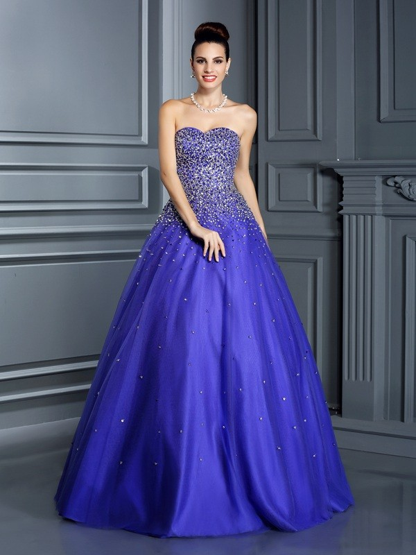 Fabulous Fit Ball Gown Sweetheart Beading Long Net Quinceanera Dresses