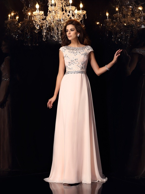 Too Much Fun Princess Style Bateau Beading Long Chiffon Dresses
