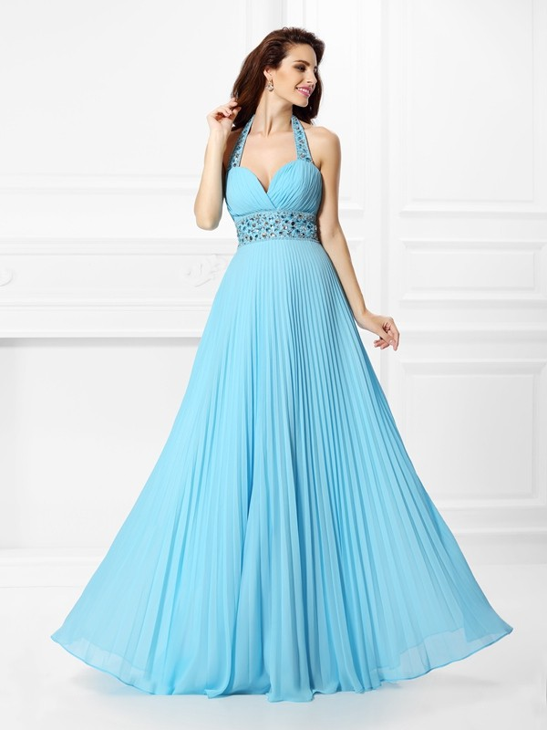 Stylish Refresh Princess Style Halter Rhinestone Long Chiffon Dresses