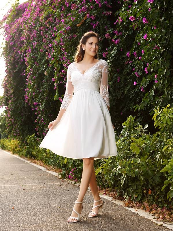 Beautiful You Princess Style V-neck Short Chiffon Wedding Dresses