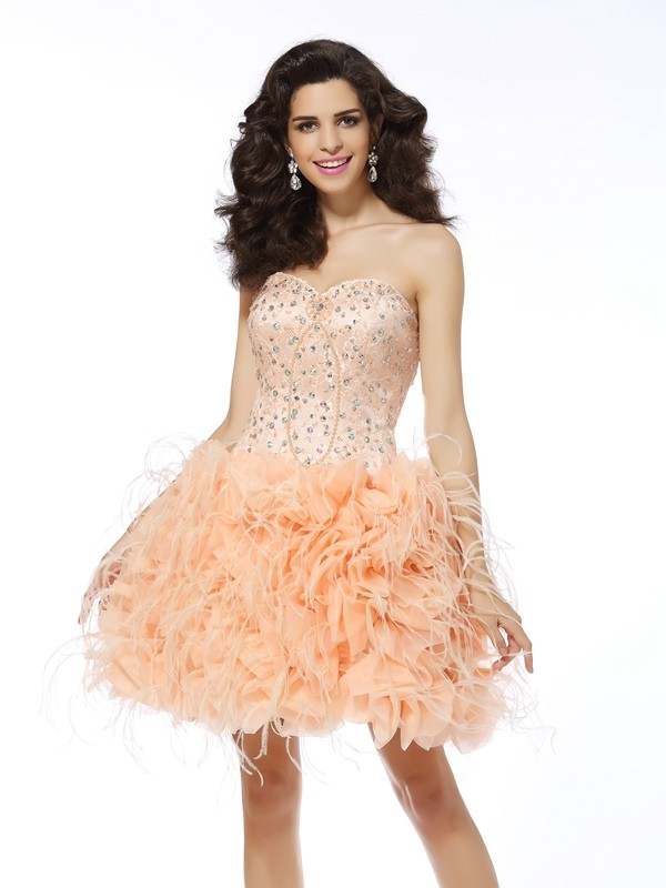 Touch of Texture Princess Style Sweetheart Beading Short Organza Cocktail Dresses