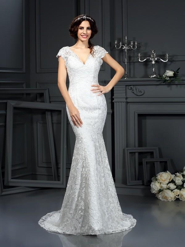 Dashing Darling Mermaid Style V-neck Lace Long Lace Wedding Dresses