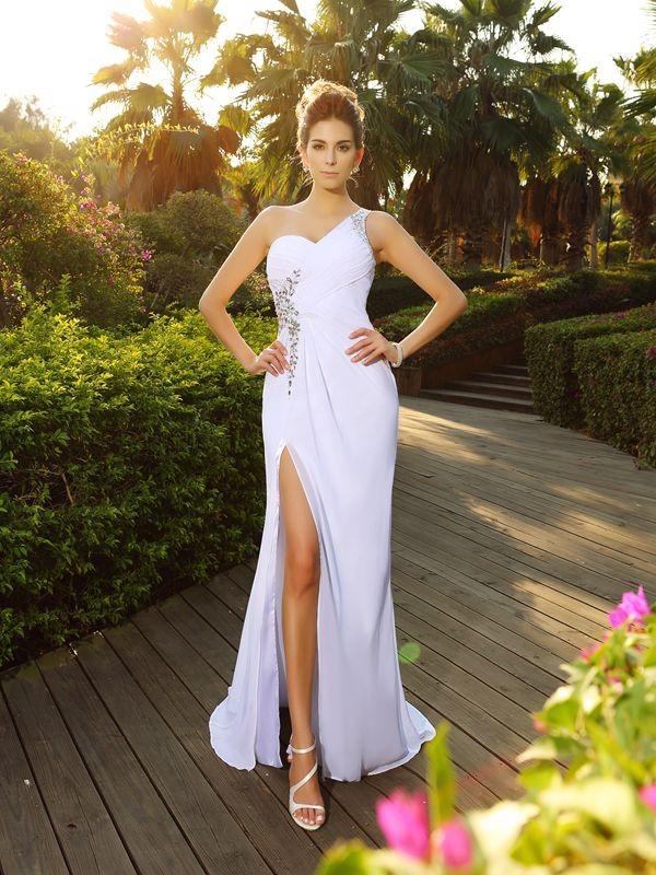 Befits Your Brilliance Princess Style One-Shoulder Beading Long Chiffon Wedding Dresses