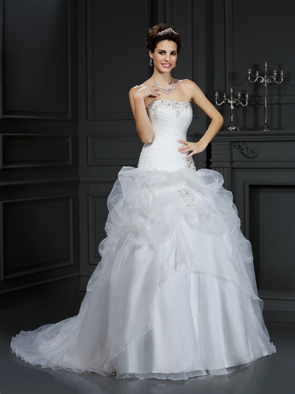 Intuitive Impact Ball Gown Strapless Beading Long Organza Wedding Dresses