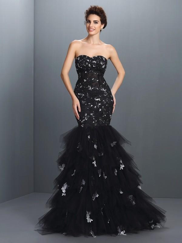 Aesthetic Honesty Mermaid Style Sweetheart Paillette Long Net Dresses