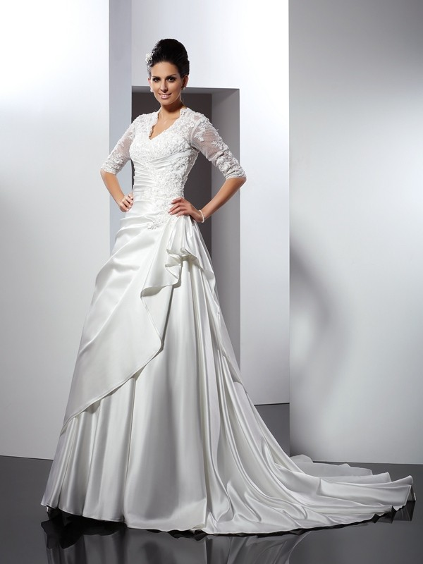 Pleasant Emphasis Princess Style V-neck Applique Long Satin Wedding Dresses