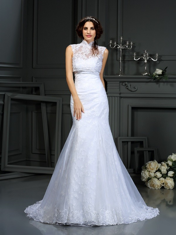 Desired Spotlight Mermaid Style Sweetheart Lace Long Satin Wedding Dresses
