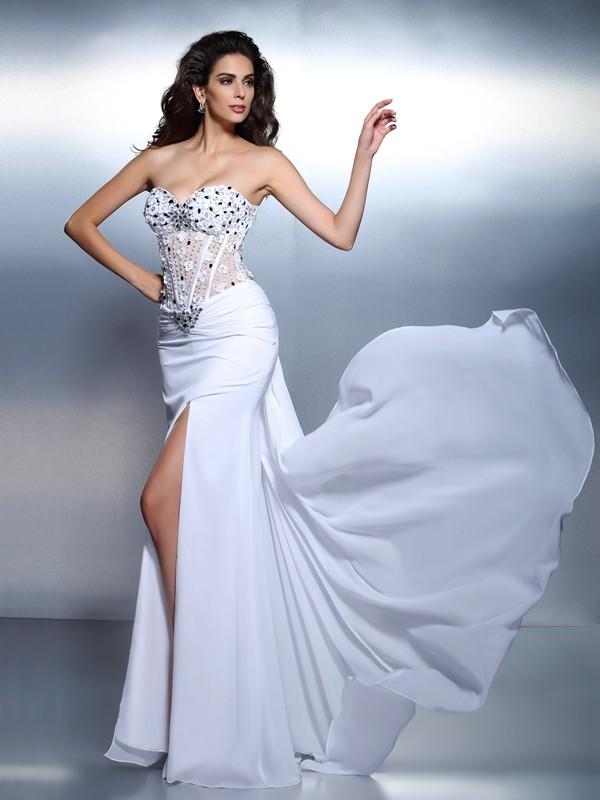 Stylish Refresh Mermaid Style Sweetheart Pleats Long Chiffon Dresses