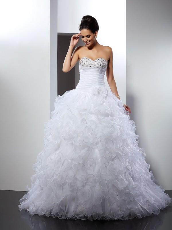 Dashing Darling Ball Gown Sweetheart Beading Long Organza Wedding Dresses