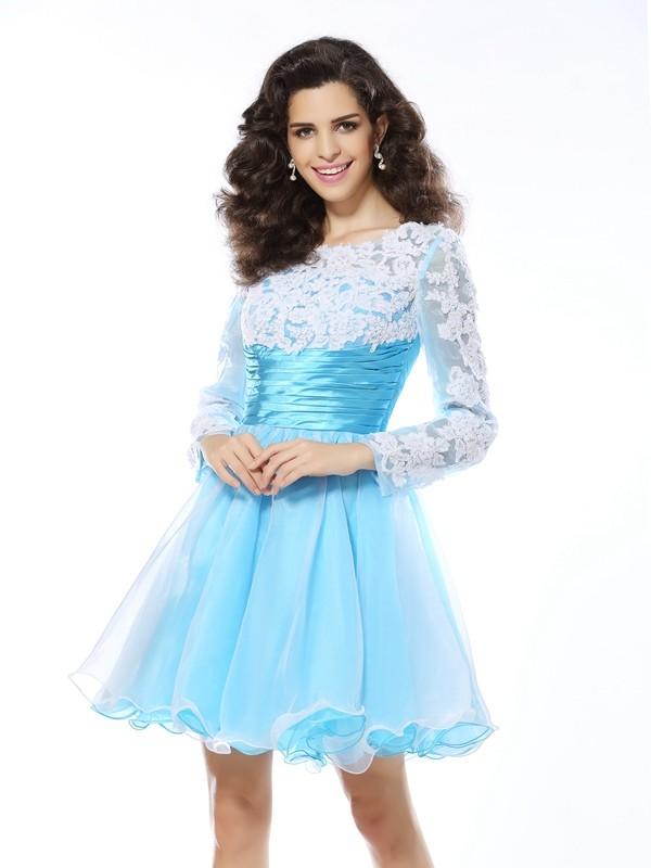 Befits Your Brilliance Princess Style Scoop Applique Short Elastic Woven Satin Cocktail Dresses