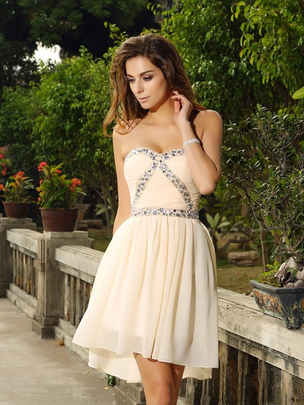 Intuitive Impact Princess Style Sweetheart Beading Short Chiffon Cocktail Dresses