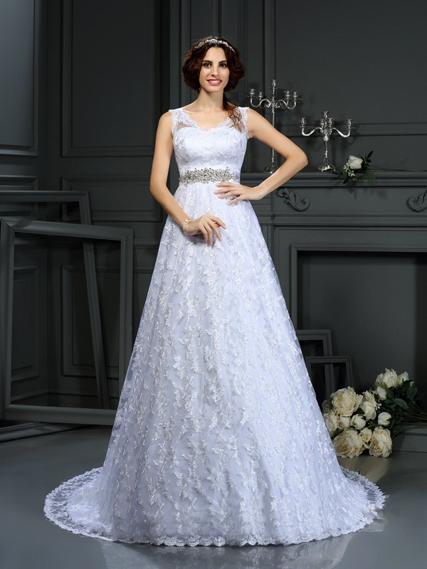 Chic Chic London Princess Style V-neck Lace Long Satin Wedding Dresses