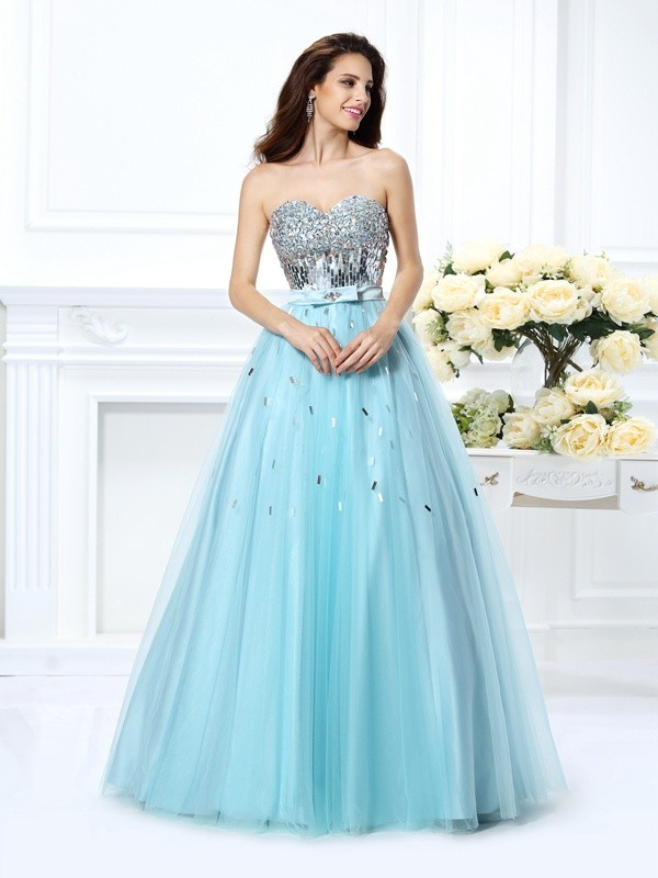 Sweet Sensation Ball Gown Sweetheart Beading Paillette Long Satin Quinceanera Dresses