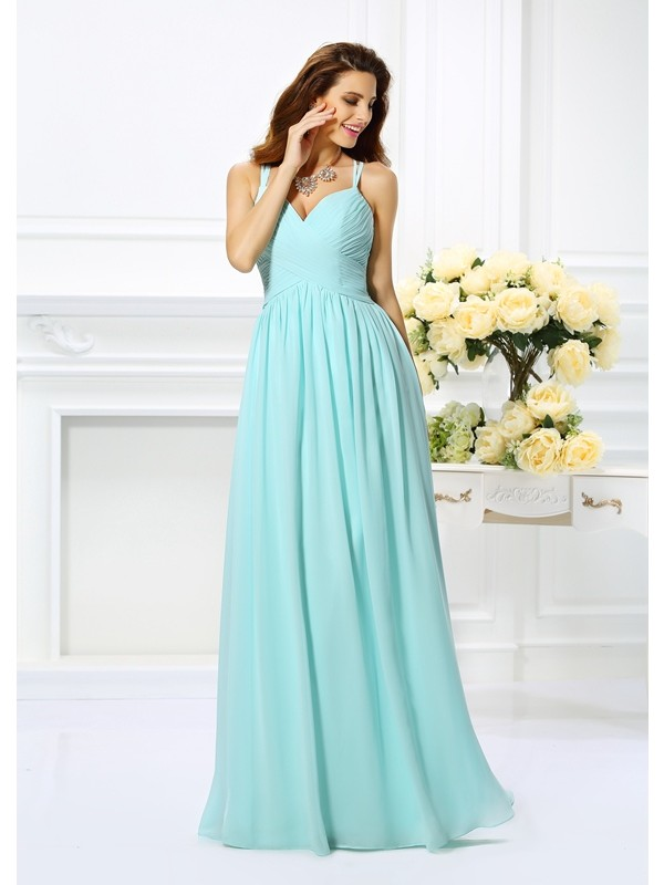 Cordially Delighted Princess Style Spaghetti Straps Pleats Long Chiffon Dresses