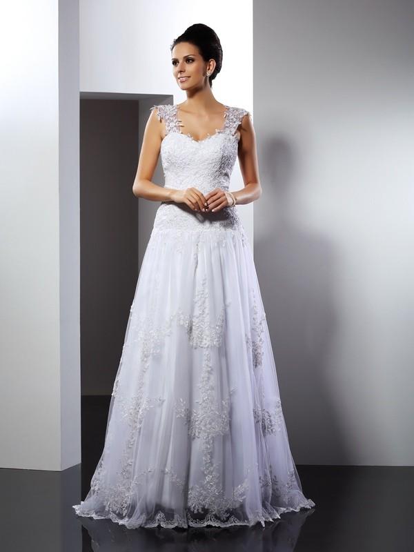 Pretty Looks Princess Style Straps Applique Long Lace Wedding Dresses