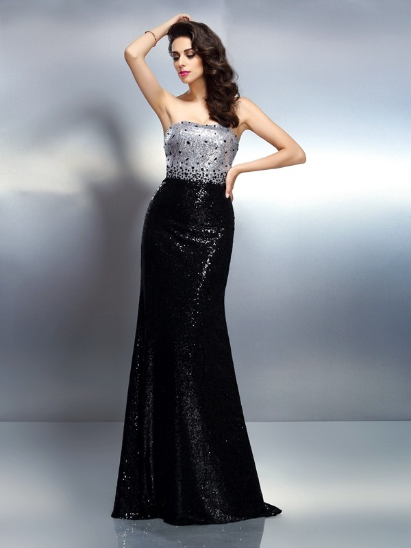 Stylish Refresh Mermaid Style Strapless Sequin Long Sequins Dresses
