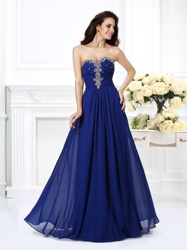Vibrant Stylist Princess Style Sweetheart Beading Long Chiffon Dresses