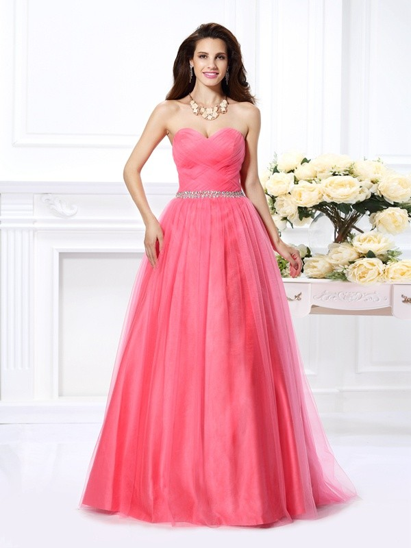 Modern Mood Ball Gown Sweetheart Pleats Long Satin Quinceanera Dresses
